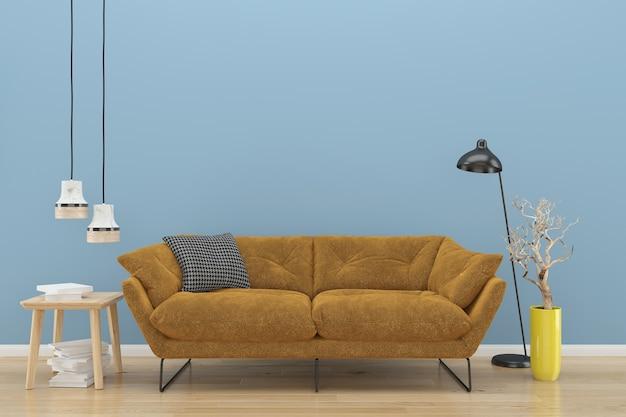 Blaue wand braun sofa holzboden hintergrund textur lampe buch pflanze vase Premium Fotos