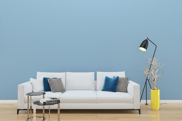 Blaue wand weiße sofa holzboden hintergrund textur lampe pflanze vase Premium Fotos