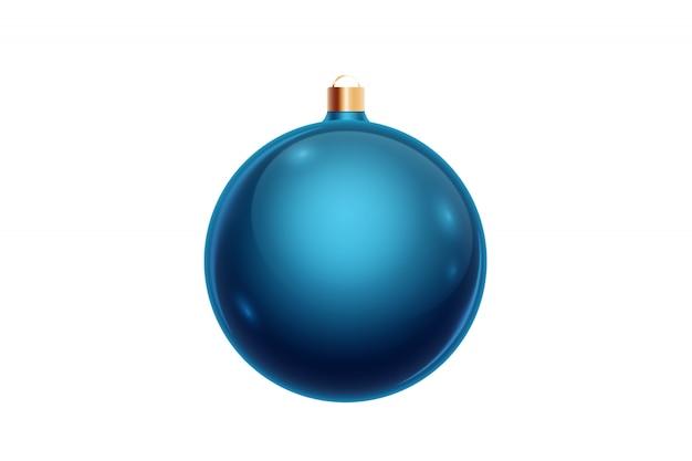 Blaue weihnachtskugel getrennt auf weißem hintergrund. weihnachtsschmuck, ornamente auf dem weihnachtsbaum. Premium Fotos