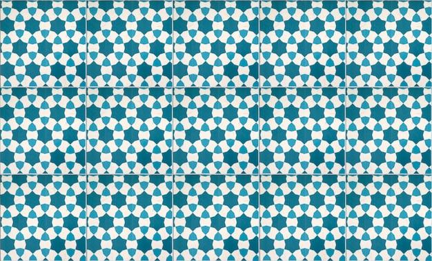 Blaue weinlesekeramikfliesen-wanddekoration Premium Fotos