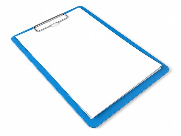Blaue zwischenablage mit leeren blättern papier Premium Fotos