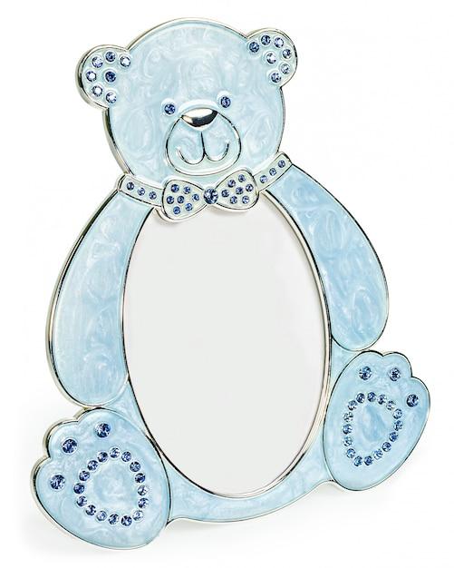 Blauer fotorahmen mit eingelegten diamanten in form eines bären Premium Fotos
