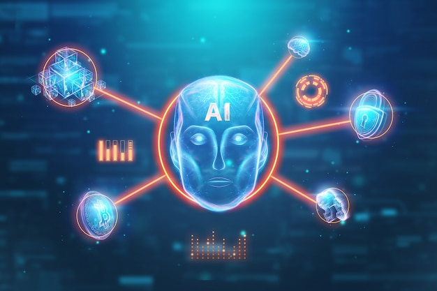 Blauer hologrammroboterkopf, künstliche intelligenz. konzept neuronale netze, autopilot, robotisierung, industrielle revolution 4.0. 3d abbildung, wiedergabe 3d. Premium Fotos