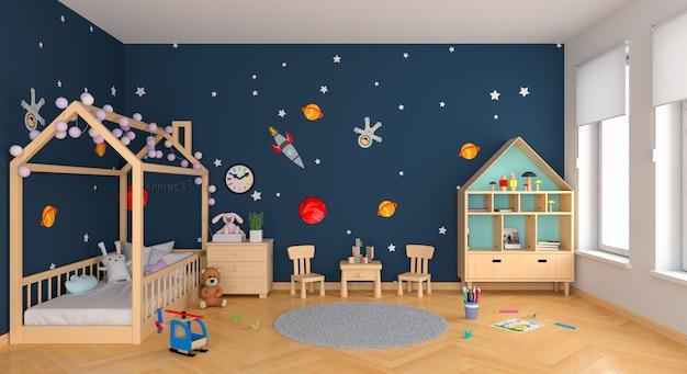 Blauer kinderrauminnenraum Premium Fotos