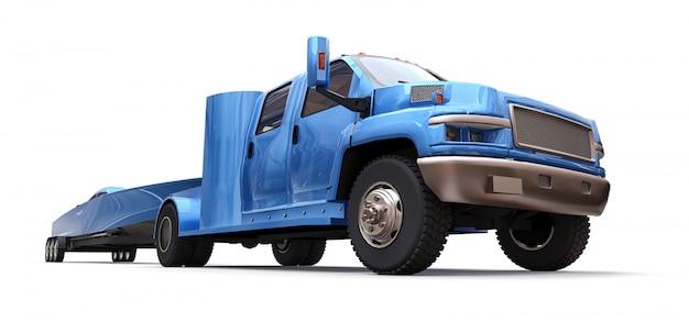 Blauer lkw mit einem anhänger für den transport eines rennboots auf einem weißen hintergrund Premium Fotos