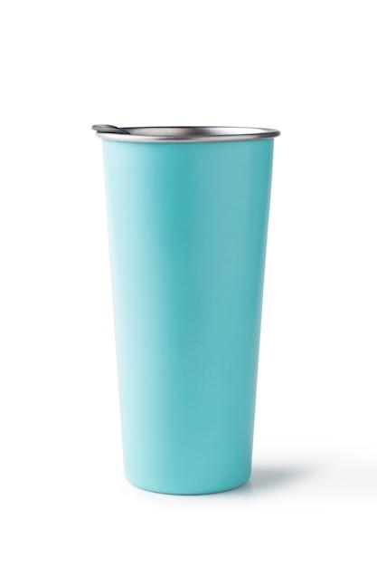 Blaues aluminiumwasserglas getrennt Premium Fotos