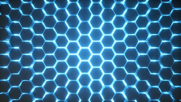 Blaues neonlicht des hexagonhintergrundes Premium Fotos