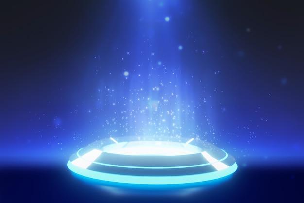 Blaues rundes stadiumspodium mit scheinwerferhintergrund Premium Fotos