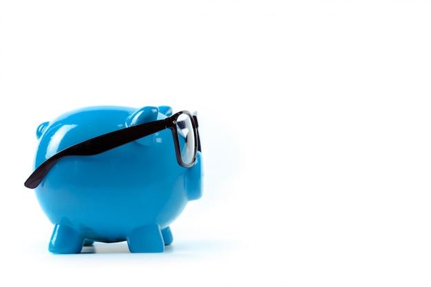 Blaues sparschwein oder geldkasten Premium Fotos