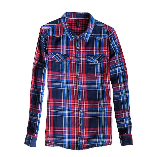 Blaues und rotes kariertes hemd. weißer hintergrund. isolieren Premium Fotos