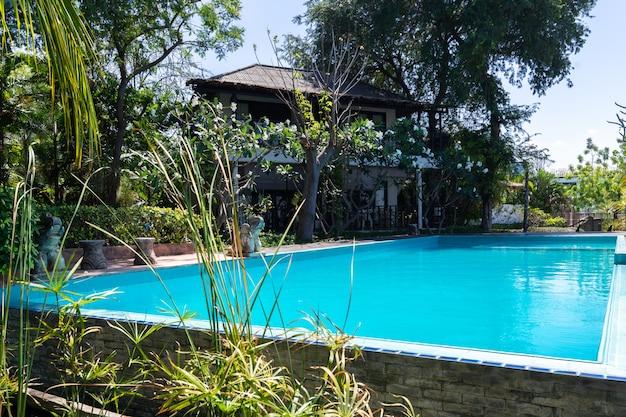 Blaues wasser des swimmingpools und tropischer garten mit seeansichthintergrund Kostenlose Fotos