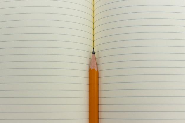 Bleistift und notizbuch oder heft oder organizer. schulstunde, bürotreffen, briefe schreiben. Premium Fotos