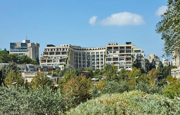 Blick auf den jerusalemer stadtteil yemin moshe Premium Fotos