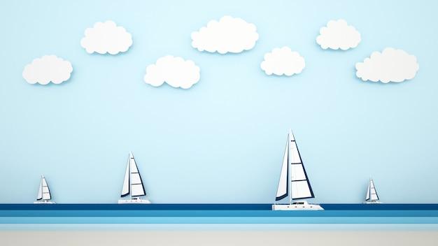 Blick auf den strand und das segelboot auf das meer Premium Fotos