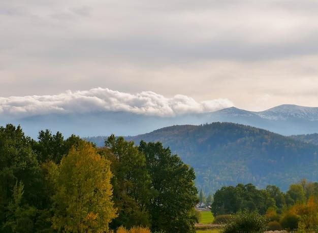 Blick auf die riesenberge aus dem tal, polen Premium Fotos