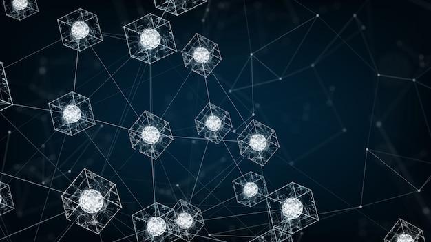 Blockchain-netzwerk-konzept. isometrische digitale blöcke quadratischen code große datenverbindung Premium Fotos
