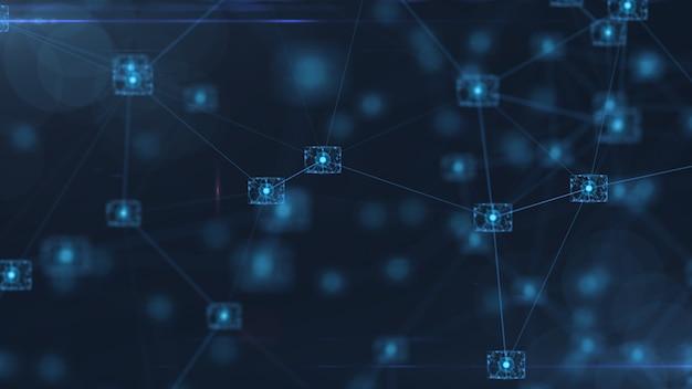 Blockchain-netzwerk-konzept. isometrische digitale blöcke quadratischen code große datenverbindung. Premium Fotos