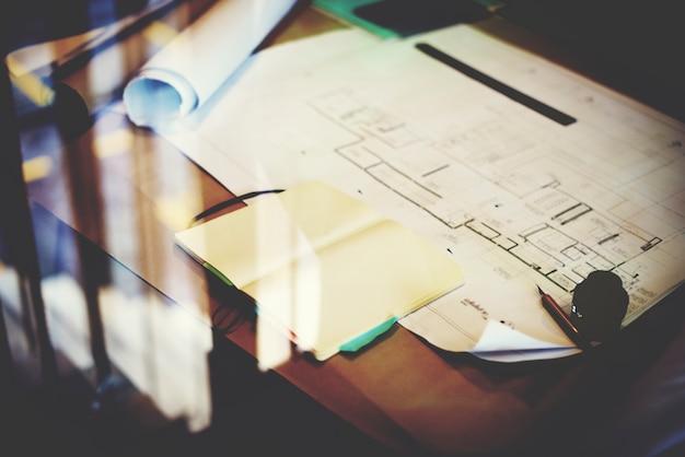 Blueprint-design-ideen-kreativitäts-dekoratives bau-konzept Kostenlose Fotos