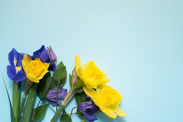 Blumen auf blauem hintergrund Premium Fotos