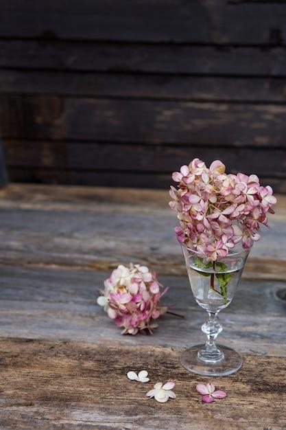 Blumen einer rosa hortensie stehen auf einem holztisch in einem alten transparenten glas Premium Fotos