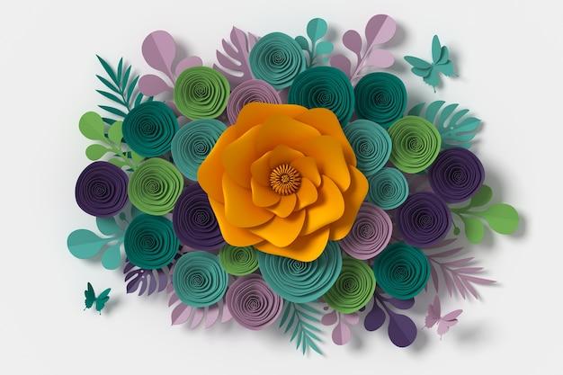Blumen-papier-stil, papier handwerk floral, butterfly papierfliege Premium Fotos