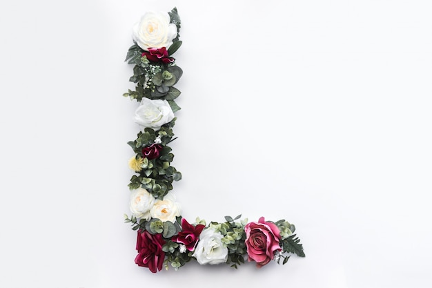 Blumenbuchstabe l blumenmonogramm kostenloses foto Kostenlose Fotos