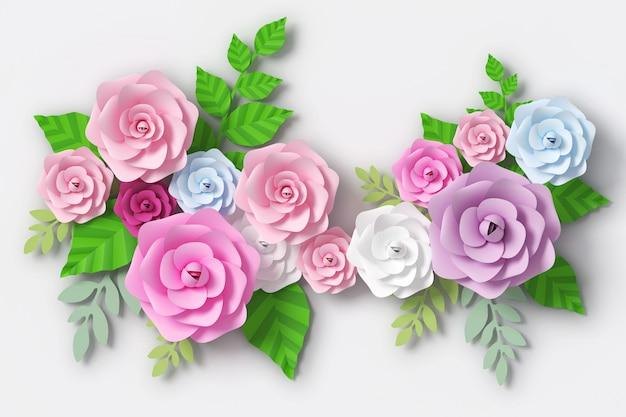 Blumenpapierart, wiedergabe 3d Premium Fotos