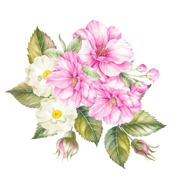 Blumenstrauß der frühlingsblumen getrennt Premium Fotos