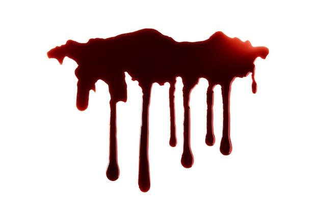 Blut tropft mit beschneidungspfad lokalisiert auf weißem hintergrund Premium Fotos