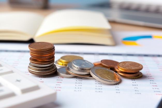 Börse der finanzbuchhaltung stellt analyseabschluß oben grafisch dar Premium Fotos