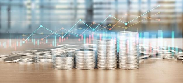 Börse forex trading graph candlestick chart geeignet für finanzinvestitionskonzept und münzen Premium Fotos