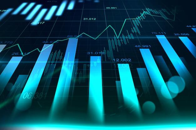 Börse- oder devisenhandelsdiagramm in der grafik Premium Fotos