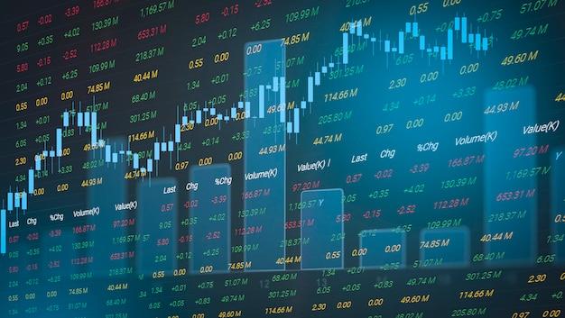 Börsediagrammgeschäfts-devisenhandelsinvestitionsfinanzaktiendiagramm-börsenwachstum und krisengeld Premium Fotos