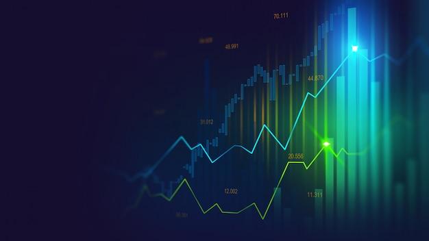 Börsen- oder devisenhandelsdiagramm Premium Fotos