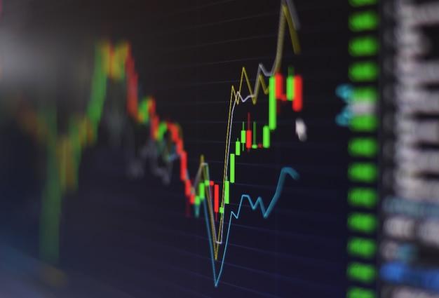 Börsenhandelsmarktschirm des finanzbörsendiagrammdiagramminvestitionshandels in der nacht abschluss oben Premium Fotos
