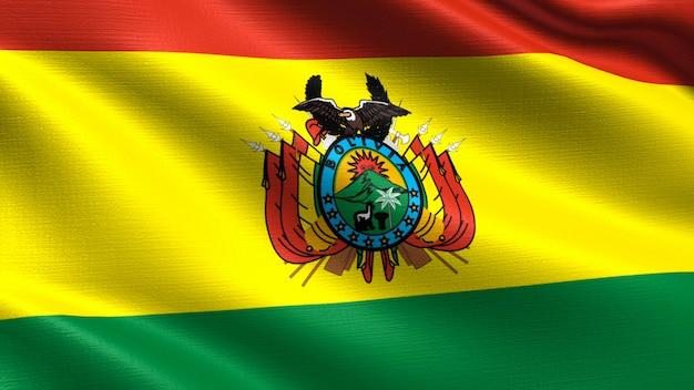 Bolivien-flagge, mit wellenartig bewegender gewebebeschaffenheit Premium Fotos