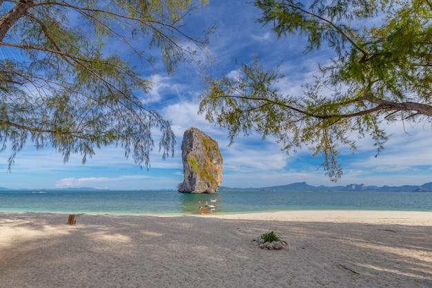 Boot des langen schwanzes auf weißem sandstrand auf tropeninsel in thailand Premium Fotos