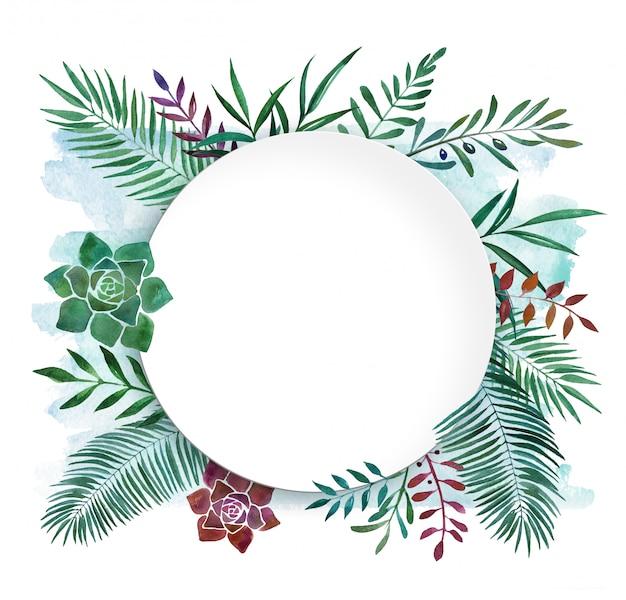 Botanischer tropischer rahmenteller des aquarells Premium Fotos