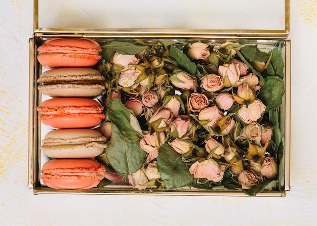Box mit blumenknospen und hellen keksen auf leuchttisch Kostenlose Fotos