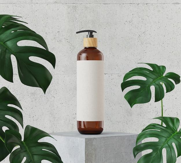 Braune kosmetikflasche auf weißem steinpodest Premium Fotos