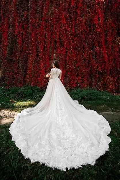 Braut in einem schönen hochzeitskleid mit einem langen zug in der natur Premium Fotos