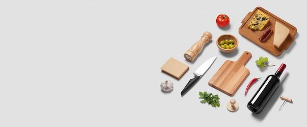 Breite websitefahne mit einer draufsicht flatlay szene von kücheneinzelteilen und von olivgrüner tomate des italienischen lebensmittelkäse-weinflaschenmessers Premium Fotos