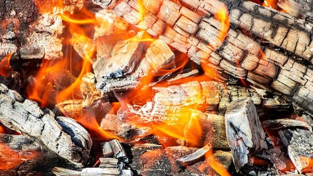 Brennholz und kohlen im grill verbrennen. brennendes feuer. fleisch grillen. kohlen zum braten. Premium Fotos