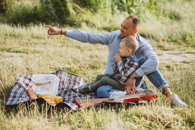 Bringen sie mit seinem sohn hervor, der picknick im park hat Kostenlose Fotos