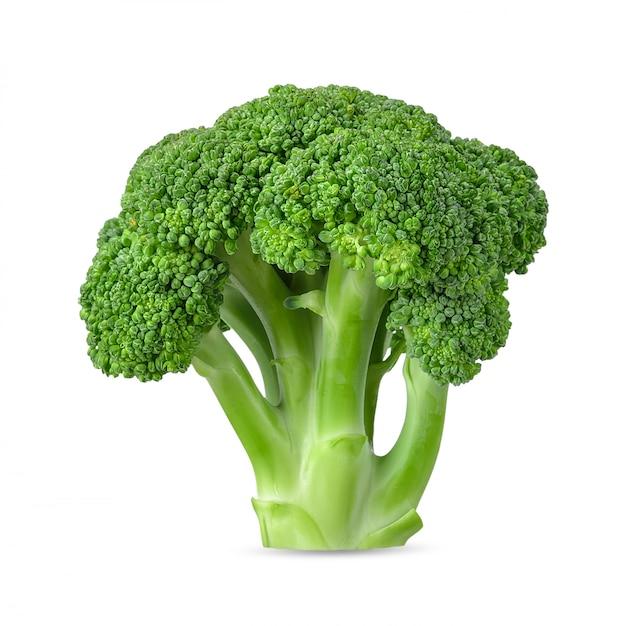 Brokkoli lokalisiert auf weißem hintergrundbeschneidungspfad Premium Fotos