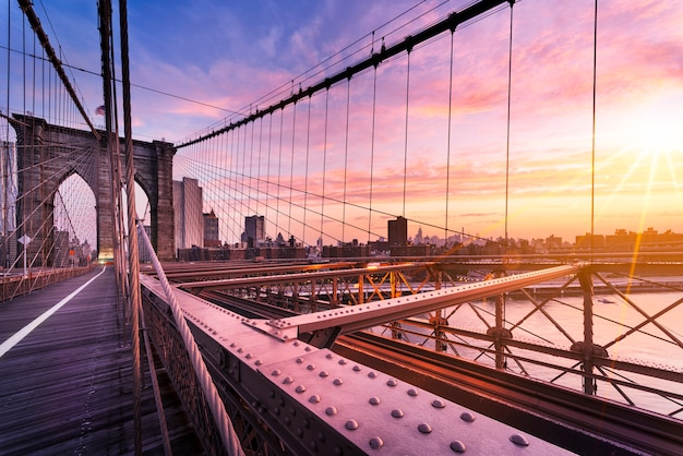 Brooklyn-brücke in new york city Premium Fotos