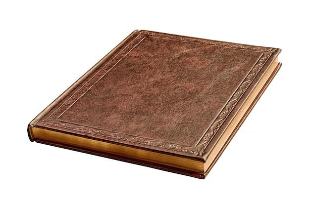 Brown-buch mit den goldseiten getrennt Premium Fotos