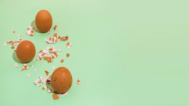 Brown-hühnereien mit gebrochenem oberteil auf grüner tabelle Kostenlose Fotos