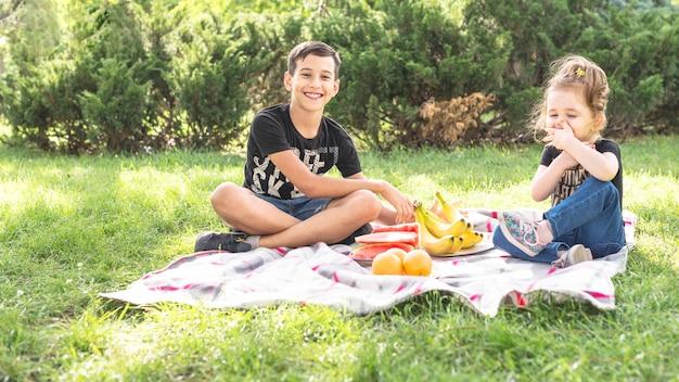 Bruder und schwester, die das picknick im park genießen Kostenlose Fotos