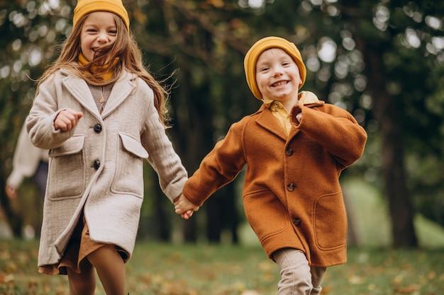 Bruder und schwester haben spaß zusammen im park Kostenlose Fotos